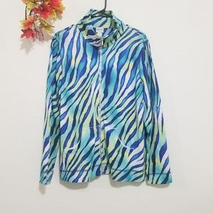 Chico's Zenergy track jacket zebra print zipper